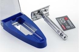 Wholesale Double Edge Safety Shaving Razor - LJP807-8 Free shipping Exquisite A2002 Men's Double Edge Shaving Safety Razor White Metal