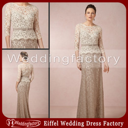 Wholesale Summer Wedding Dresses Colors - Gorgeous Lace Mother of the Bride Dresses Two Colors Sheer Bateau Neck 3 4 Long Sleeves Floor Length Formal Wedding Guests Gowns