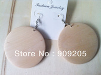 Wholesale unfinished wood - free shipping! 12 pairs lot unfinished wood earring SM-E054