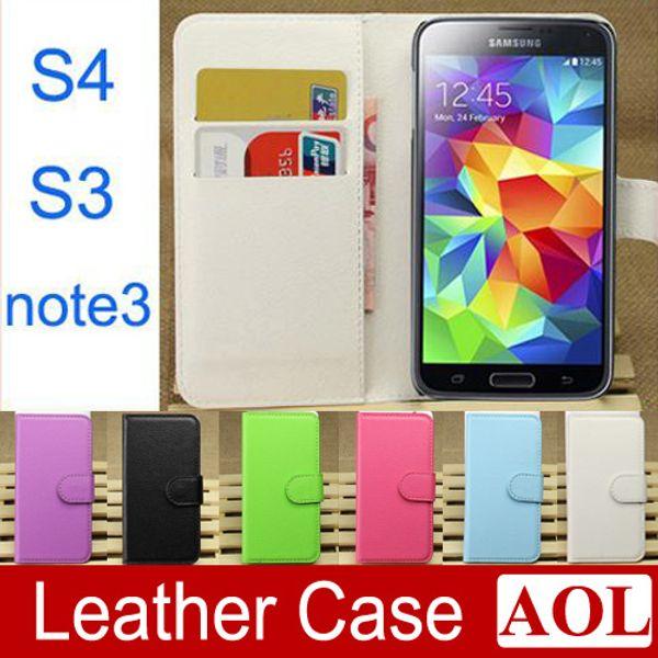 Galaxy S4 S3 Note3 funda de cuero de la cubierta de la tarjeta de crédito billetera de lujo para Samsung Galaxy Note 2 N9000 S3 i9300 S4 i9500 envío gratis