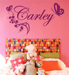 Wholesale Girls Removable Wall Stickers - Customer-made Personalized Name and Butterflies Removable Vinyl Wall Art Decal Sticker for Girls Room Decor