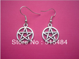 Wholesale Retro Circle Earring - FreeShipping 20pcs(10pairs) Funky Silver Circle Pentagon Earrings Kitsch Retro Star Gothic Emo Wicca