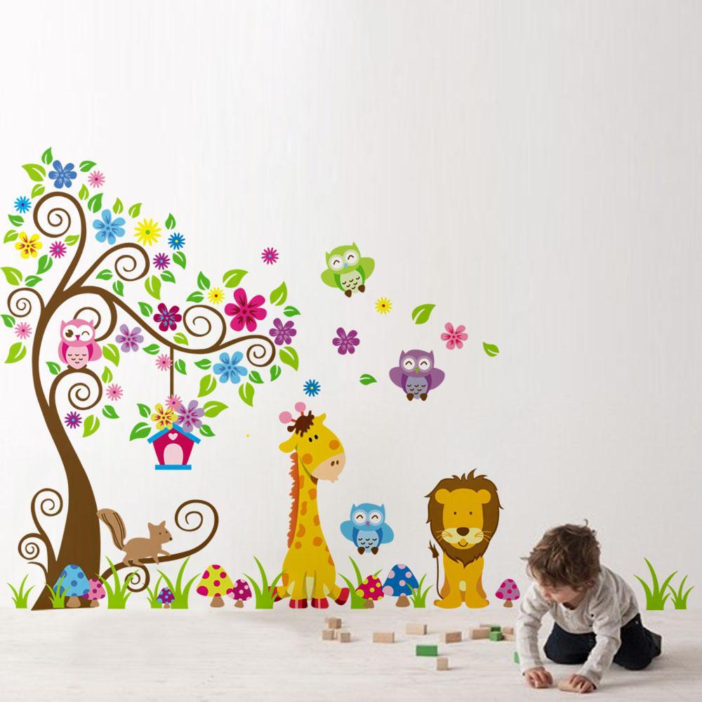 Cartoon Cute Lion Owl Giraffe Tree Diy Wall Sticke Wallpaper Stickers Art  Decor Mural Kidu0027S Child Room Decal Home Decoration H11573 Discount Wall  Decals ...