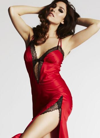 ea6bbafa59a9c Made from silky smooth red satin, it feels amazing and looks sensational.  Featuring a delicate floral lace trim, a thigh-high slit, cross over  straps, ...