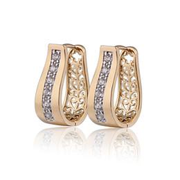 Wholesale New Ear Gold Rings - New 2014 18K Gold Plated CZ Zirconia Hoop Earrings For Women Bijoux CC Ear Ring Earings Fashion Free shipping 9E18K-94