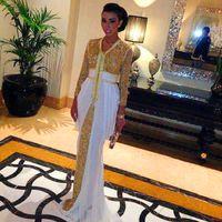 Wholesale Dresses Celebrities Arabs - Hot ! Classical Deep V-neck Long Sleeves Arab Celebrity Dresses Vestidos De Festa Gold Sequin Mermaid Muslim Ruched Chiffon Evening Gown