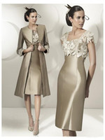 Wholesale Elegant Mother Bride Dresses - 2016 Hot Sale Elegant Sheath Party Dress Lace Satin Mother Of The Bride Dress Knee-Length Dress With Jacket