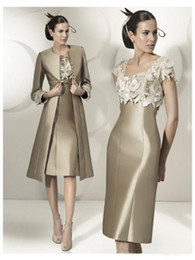 cap sleeve mother bride dresses sale 2019 - 2016 Hot Sale Elegant Sheath Party Dress Lace Satin Mother Of The Bride Dress Knee-Length Dress With Jacket discount cap