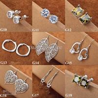 Wholesale Nose Earring Hang - Wholesale - Vintage Ladies Eardrop jewelry 925 Silver Mixed Styles Hanging Ladies Charms Earrings Hot 90pairs