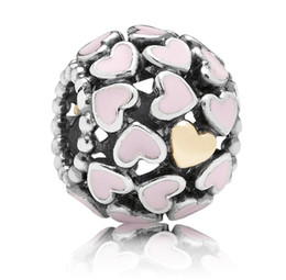 браслет 14k золотой пандоры Скидка 925 стерлингового серебра розовый Enemal сердце 14k позолоченные сердца очарование святить из бисера, пригодный для европейского Pandora браслет
