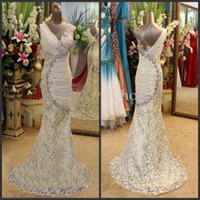 Wholesale Brilliant Trumpet - New Luxurious Brilliant V-neck Crystals Mermaid Prom Dresses Beading Lace Ruched Chiffon Sweep Train 2013 Sexy Beach Mermaid Wedding Dresse
