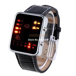 Men Digital Wrist Watches NZ - Promotion !New Women & Men Digital Red LED Sport Wrist Watch Binary Wristwatch Synthetic Leather Casual Smart Watch b7 SV004992