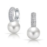 Wholesale Pave Diamond Hoop Earrings - New White Pearl 925 Sterling Silver Pave Tiny CZ Diamond Hoop Earrings Bridal Wedding Women Earing Jewelry Brinco Perola Noiva