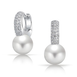 Wholesale Pave Hoops - New White Pearl 925 Sterling Silver Pave Tiny CZ Diamond Hoop Earrings Bridal Wedding Women Earing Jewelry Brinco Perola Noiva