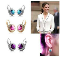 Barato Brincos De Aro Bonito-Frete Grátis 2014 New Arrival Women Fashion Kate Middleton Round Cute Cubic Zircon Czech Crystal Hoop Earrings