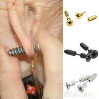 Wholesale Fine Items - Gold Black Silver Color Single Fashion Unisex Fine Stainless Steel Whole Screw Stud Earrings For Men Women Novelty Item