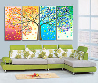 Wholesale Colorful Abstract Landscape - 4 Piece set 100%Hand Painted Oil Painting Colorful Wall Art Canvas Picture Modern Abstract Home Decor Living Room decor