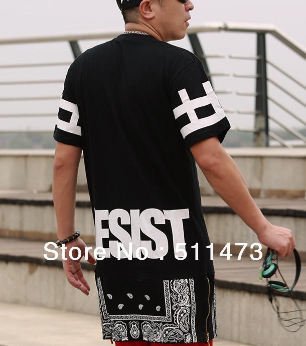 2014 Hiphop Unisex Women Men Bandana Print CEASE DESIST Rhude Graphic Extra Long  Tee T Shirt Tyga Paisley Side Zip+ Men S T Shirts White Designer T Shirts  ... be6a2c3cb3c