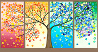 Wholesale Tree Life Panel Painting - Free shipping,Abstract Life Tree Oil Painting on canvas Beautiful Life handmade High Quality Home Office Hotel wall art decor decoration