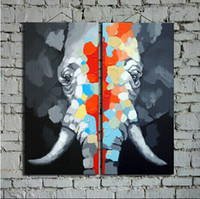 Great Hand Painted Elephant Oil Painting on Canvas Animal La...