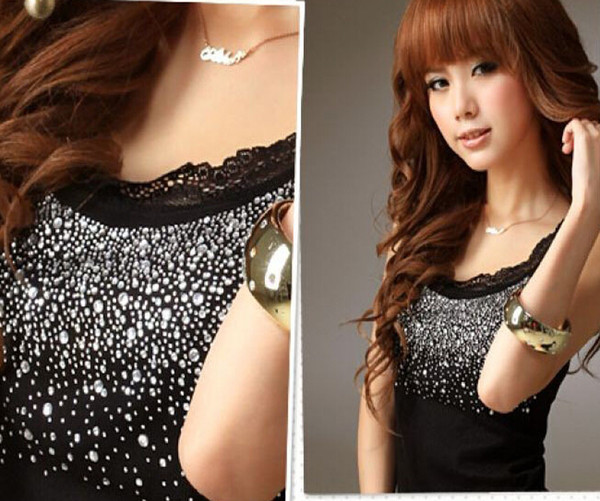 top popular Free Shipping new Women's Black Cotton T-shirts Fashion Camis Lace Beaded Tank Tanks Tops Shirt Clothes wear 2021