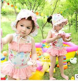 Wholesale Pink Princess Swimwear - 2014 Latest Fashion korean Girls cute floral lace princess skirt Briefs swimwear kids spa Beachwear Children flowers Siamese swimsuits 7162