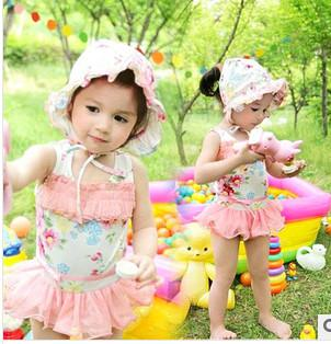best selling 2014 Latest Fashion korean Girls cute floral lace princess skirt Briefs swimwear kids spa Beachwear Children flowers Siamese swimsuits 7162