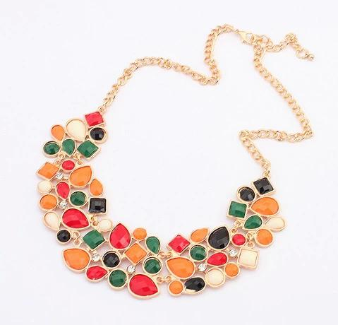 New Arrival Vintage Style Statement Colorful Resin Rhinestone Drop Gem Bib Choker Necklace Jewelry For Woman 902985
