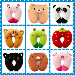 2019 rane nere Alta qualità Cute Soft Cartoon Cuscino a forma di U 9 Stili Pink Pig Strawberry Frog Black Cat Tiger Bruins Pink Rabbit Panda Cuscini per bambini rane nere economici