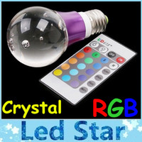 Wholesale Led Spotlights Purple - New Type Purple Crystal Led RGB Bulbs 3W E27 E26 Led Lights 16 Colors Changes With 24 Keys Remote Control Best For Christmas Lights 85-265V