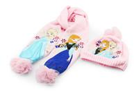 Wholesale Kids Scarves Accessories - Froze Girls gifts Pink scarf hat set elsa anna scarves cap,Anna Elsa Children knit Accessories kids girl hats&scarves sets 2pcs=1set