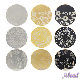 Wholesale Large Plates For Floating Locket - 2017 Big Promotion New Mix 9 Designs Large Three Colors Carving Plate fit Your Glass Living for Floating Lockets Wholesale 45pcs lot MPB-004