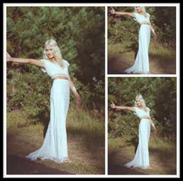 Wholesale Grace Sheath - 2014 Grace Love Lace Wedding Dresses White 2 Pieces Scoop Short Sleeve Sheath Bridal Gown Floor Length Dress For Bride Custom Made