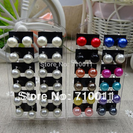 Wholesale Cheap Plastic Resin - Free Shipping--Hot Cheap Cute 8mm Mixed Colours Imitation Simulated Pearl Plastic Resin Stud Earrings,12pairs card,12cards lot