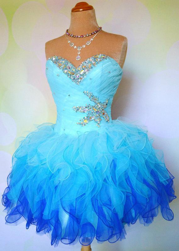 Billiga Ombre Multi Color Färgglada Kort Korsett och Tulle Ball Gown Prom Homecoming Dance Party Dresses Mini Bridal Bachelorette Gowns