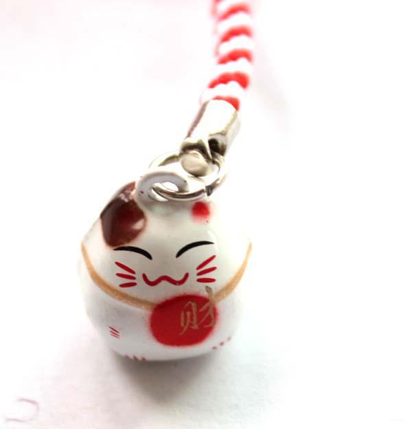 New Cute White HAPPINESS Maneki Neko Lucky Cat & Fan Bell Cell Phone Charm Strap Gift