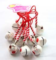 звонок сотового телефона оптовых-Новый 100 шт. симпатичные Белый (счастье) Maneki Neko Lucky Cat вентилятор колокол сотовый телефон Шарм ремешок подарок