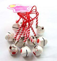 Fascino del telefono delle cellule del gatto online-Nuovo 100pcs sveglio bianco (FELICITÀ) Maneki Neko Lucky Cat Fan Bell Cell Phone Charm Strap Gift