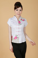 Wholesale Long Sleeve Cheongsam Tops - Free Shipping 2015 new arrival chinese style Top Blouses traditional Chinese Women's cotton cheongsam Top white color chinese Blouses 2338