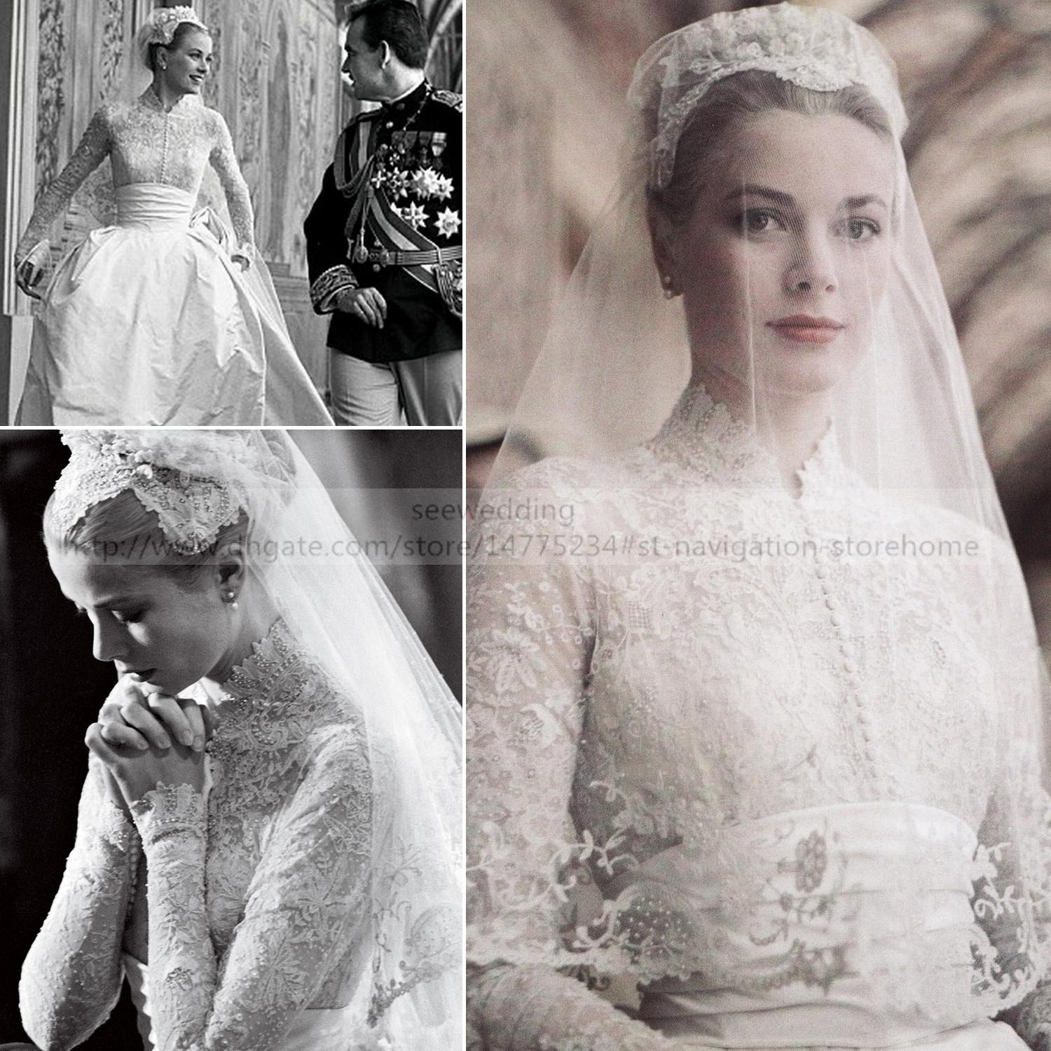 Discount Princess Grace Kelly Inspired Vintage Wedding Dresses High ...