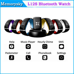 Wholesale Phone Watch Design - L12S Call ID OLED Bluetooth 3.0 Bracelet Wrist Watch Design For Android Smart Phone Call Dial Pedometer Phonebook 002428