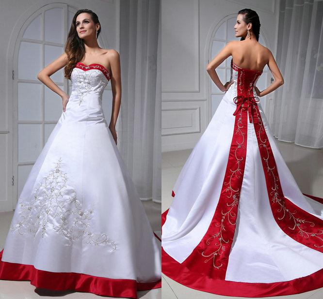 Red And White Ball Gown Wedding Dress: Vintage Embroidered Red And White Satin Ball Gown Wedding
