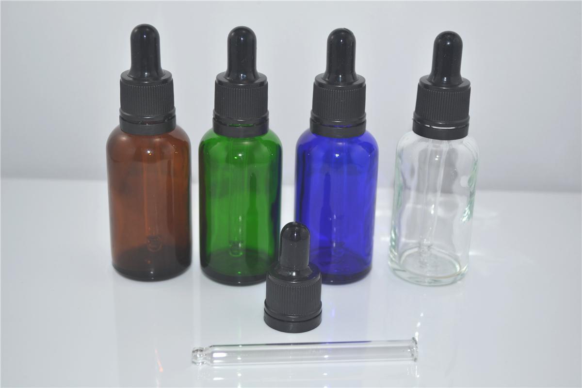 Partihandel 30ML -1 OZ Glass Dropper Flaskor / Vails med manipulationsmotståndskåpa för eteriska oljor, kosmetika, parfymer-nya