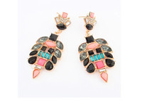 Wholesale Neon Color Stud Earrings - Shourouk Dangle Stud Earrings 12Pairs lot idealway New Arrivals Gold Alloy Neon Color Crystal Rhinestone Beads womens jewel