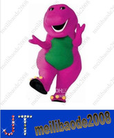 Wholesale Christmas Party Outfit Characters - 2014 new Barney Mascot Costume adult Cartoon mascot Costumes character Party Carnival Halloween Outfits HSA0408