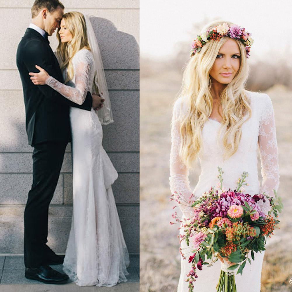 Cheap 2014 Elegant Garden Beach Wedding Gowns V Neck Long Sleeve ...