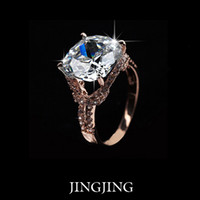 Wholesale Cushion Pave Engagement Ring - Exclusive!18K Rose Gold Plated Cushion Cut 6ct Swiss CZ Diamond with Double Pave Band Women Finger Rings(Jingjing JR018)