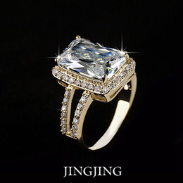 Wholesale Emerald Cut Engagement Rings - Classic Design 18K Gold Plated 5ct Emerald Cut Swiss Cubic Zirconia with Split Shank Halo Illusion Engagement Rings(JR029A)