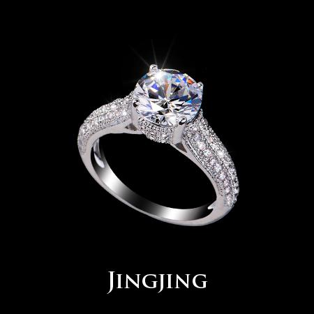 White Gold Plated Round Cut 8mm 2 Swiss Cubic Zirconia Eternity Wedding Rings with Side Stones (Jingjing JR002D)