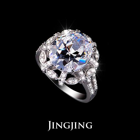 White Gold plated 5 Oval shape cut Swiss Cubic Zirconia Noble Flower Element Exaggerated Wedding Rings(Jingjing JR019D)